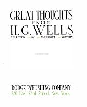 Great Thoughts from H. G. Wells