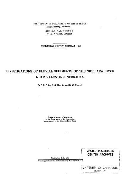 Download Investigations of Fluvial Sediments of the Niobrara River Near Valentine  Nebraska Book