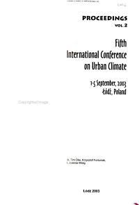 Proceedings  Fifth International Conference on Urban Climate