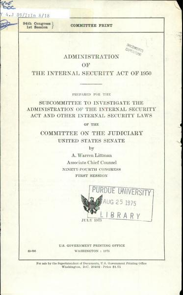 Administration of the Internal Security Act of 1950 PDF
