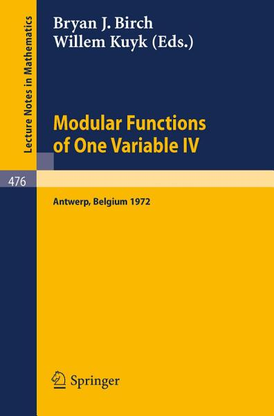 Modular Functions of One Variable IV PDF