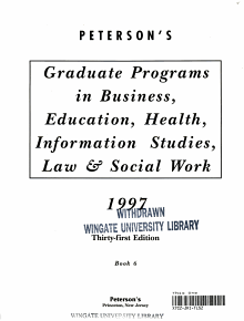 Peterson s Guide to Graduate Programs in Business  Education  Health  Information Studies  Law and Social Work 1997 PDF
