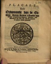 Placaet ende ordonnantie van de Ed. Mog. Heeren Staten 's Lands van Utrecht, aengaende het wapenen, waecken, ende monsteren van allen in- ende op-gesetenen, ten platten lande woonende: Volume 1