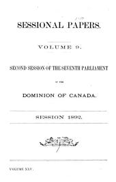 Sessional Papers of the Dominion of Canada: Volume 9; Volume 25, Issue 9