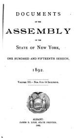 Documents of the Assembly of the State of New York: Volume 3
