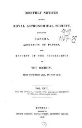 Monthly Notices of the Royal Astronomical Society: Volume 18