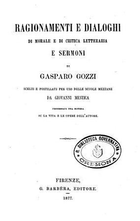 Ragionamenti e dialoghi di morale e di critica letteraria e sermoni PDF