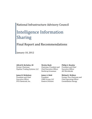 National Infrastructure Advisory Council Intelligence Information Sharing Final Report and Recommendations
