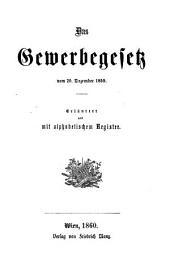 Gewerbegesetz (Gewerbeordnung) vom 20. Dezember 1859; erl. und mit Reg