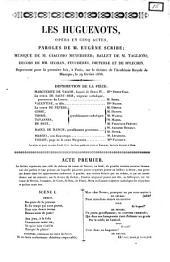 Les huguenots opéra en cinq actes paroles de m. Eugène Scribe