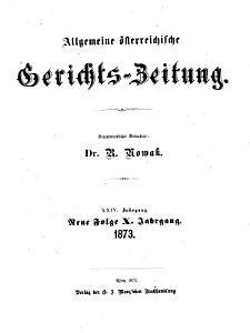 Allgemeine   sterreichische Gerichts Zeitung PDF