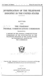 Investigation of the Telephone Industry in the United States