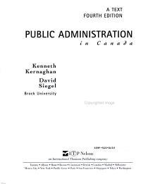 Public Administration in Canada