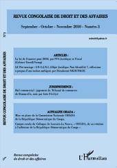 Revue congolaise de droit et des affaires N° 3: Septembre-octobre-novembre 2010 - numéro 3