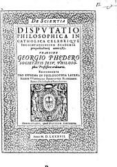De scientia disputatio philosophica