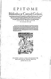 Epitome Bibliothecae Conradi Gesneri