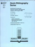 Rotational Grazing and Intensive Pasture Management  January 1970 August 1988 PDF