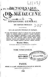 Dictionnaire de médecine: ou, Répertoire général des sciences médicales considérées sous le rapport théorique et pratique, Volume21