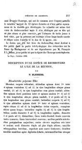 Description d'une espèce de Rhombotides de l'ile de la Réunion: Volume1