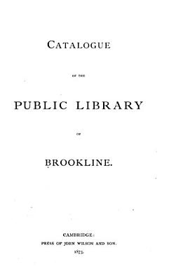 Catalogue of the Public Library of Brookline PDF