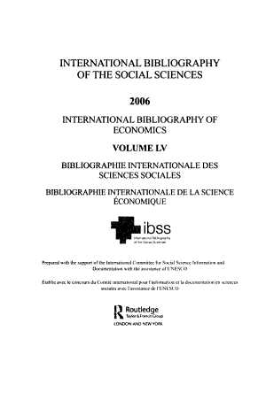 IBSS: Economics: 2006 Vol. 55