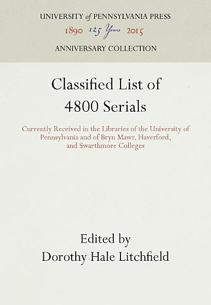 Download Classified List of 4800 Serials Book