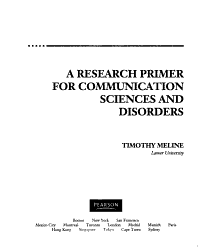 A Research Primer for Communication Sciences and Disorders Book