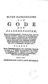 Blyde dankzegging aan Gods [...] wegens de kloekzinnigheid [...] verleent aan de [...] regeerders der stad Amsterdam [...] ter vergadering van [...] de heeren Staaten van Holland
