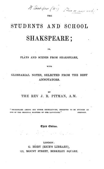 The Students and School Shakspeare  Etc  Third Edition PDF
