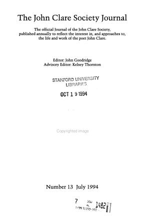 The John Clare Society Journal