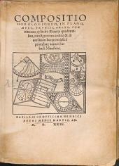 Compositio horologiorum, in plano, muro, truncis, anulo, concavo, cylindro & variis quadrantibus: cum signorum zodiaci & diversarum horarum inscriptionibus