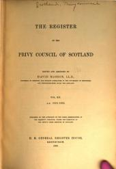 The Register of the Privy Council of Scotland: Volume 12