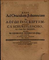 Disp. ad oraculum Johanneum de logō inscriptum