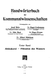 Handwörterbuch der Kommunalwissenschaften: Band 1
