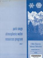 Park Range Atmospheric Water Resources Program PDF