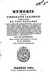 Memorie Delle Tipografie Calabresi Compilate da Vito Capialbi
