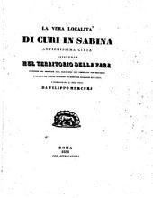 La vera località di Curi in Sabina, antichissima città esistente nel territorio della Fara