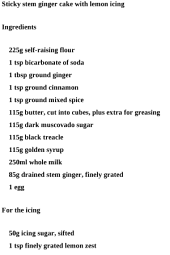 Cake Dessert Recipes - Sticky Stem Ginger Cake with Lemon Icing Recipe
