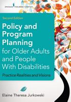 Policy and Program Planning for Older Adults and People with Disabilities  Second Edition PDF