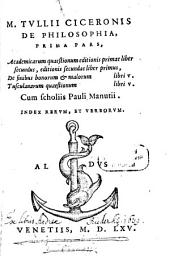 De Philosophia: Academicarum quaestionum editionis primae liber secundus ...