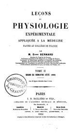Leçons de physiologie expérimentale appliquée à la médecine: faites au Collège de France, Volume2