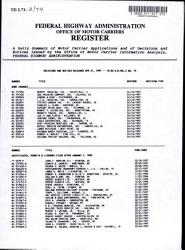 Federal Highway Administration Office Of Motor Carriers Register Book PDF