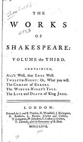 The Works of Shakespeare: in Eight Volumes: Volume 3