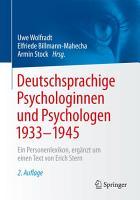 Deutschsprachige Psychologinnen und Psychologen 1933   1945 PDF