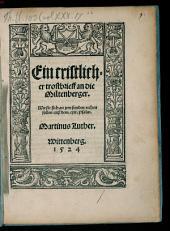 Ein cristlicher trostbrieff an die Miltenberger: Wie sie sich an jren feinden rechen sollen auß dem. cxix. Psalm