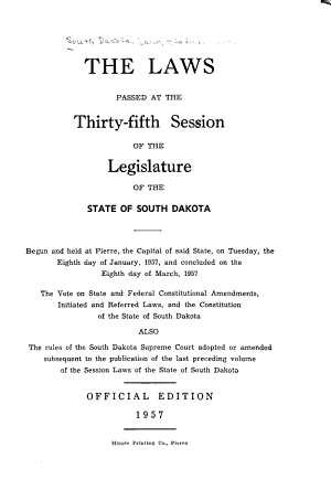 Laws Passed at the Session of the Legislature of the State of South Dakota