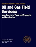 Oil and Gas Field Services  Impediments to Trade and Prospects for Liberalization  Inv  332 444 PDF