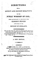Directions for a Devout and Decent Behaviour in the Public Worship of God PDF