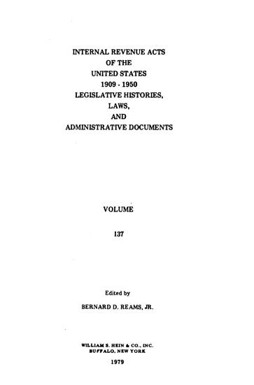 Internal Revenue Acts of the United States  1909 1950 PDF