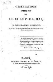 Observations critiques sur le Champ de Mai